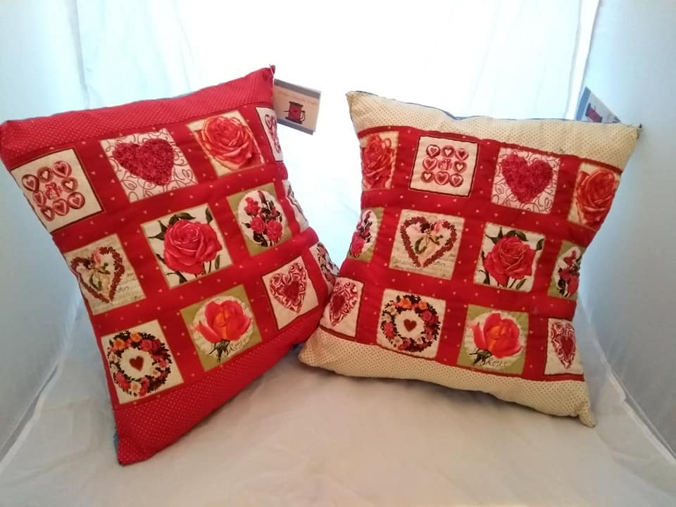 Two cushions with valentines designs